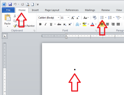 To create a new bulleted list in MS Office, click tab Home, and then from group Paragraphs, click button Bullets.